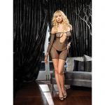 KEYHOLE FISHNET MINI DRESS WITH FINGERLESS GAUNTLET SLEEVE O