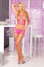 Seamless slits hotshort set: Pink