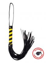 Whip black_yellow leather with blindfold