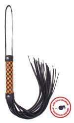 Kockás nyelű korbács - narancssárga lakk - fekete lakk